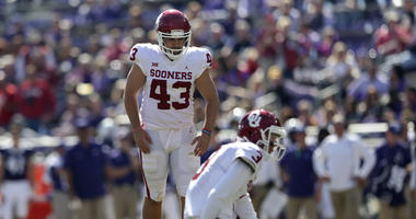 Oct 20, 2018; Fort Worth, TX, USA; Oklahoma Sooners place kicker Austin Seibert (43) during the game against the TCU Horned Frogs at Amon G. Carter Stadium. Mandatory Credit: Kevin Jairaj-USA TODAY Sports