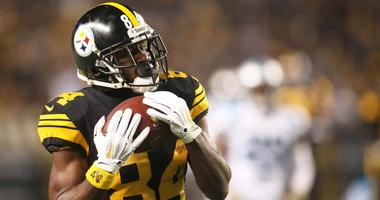 Pittsburgh Steelers wide receiver Antonio Brown (84) catches a fifty-three yard touchdown pass against the Carolina Panthers during the second quarter at Heinz Field.