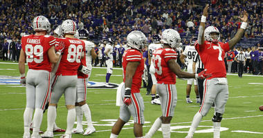Ohio State Buckeyes quarterback Dwayne Haskins Jr. (7) celebrates in the closing seconds against the Northwestern Wildcats during the fourth quarter in the Big Ten conference championship game at Lucas Oil Stadium.