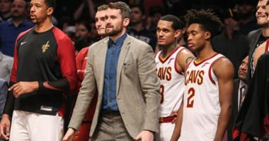 Dec 3, 2018; Brooklyn, NY, USA; Cleveland Cavaliers forward Kevin Love (not in uniform) at Barclays Center. Mandatory Credit: Wendell Cruz-USA TODAY Sports