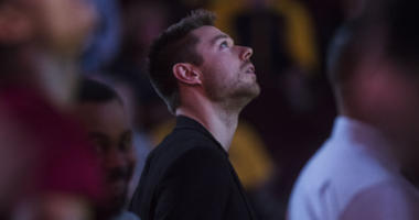 Dec 8, 2018; Cleveland, OH, USA; Newly acquired Cleveland Cavaliers guard Matthew Dellavedova watches the opening video segment before the game between the Cleveland Cavaliers and the Washington Wizards at Quicken Loans Arena. Mandatory Credit: Ken Blaze-