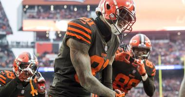 Dec 23, 2018; Cleveland, OH, USA; Cleveland Browns wide receiver Rashard Higgins (81) celebrates after scoring a touchdown during the second half against the Cincinnati Bengals at FirstEnergy Stadium. Mandatory Credit: Ken Blaze-USA TODAY Sports