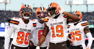 Dec 30, 2018; Baltimore, MD, USA; Cleveland Browns wide receiver Breshad Perriman (19) celebrates with wide receiver Jarvis Landry (80) and quarterback Baker Mayfield (6) after catching a touchdown in the first quarter against the Baltimore Ravens at M&T