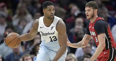 Jan 2, 2019; Cleveland, OH, USA; Cleveland Cavaliers center Tristan Thompson (13) dribbles against Miami Heat guard Tyler Johnson (8) in the second quarter at Quicken Loans Arena. Mandatory Credit: David Richard-USA TODAY Sports