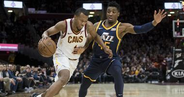 Jan 4, 2019; Cleveland, OH, USA; Cleveland Cavaliers guard Rodney Hood (1) drives to the basket against Utah Jazz guard Donovan Mitchell (45) during the first half at Quicken Loans Arena. Mandatory Credit: Ken Blaze-USA TODAY Sports
