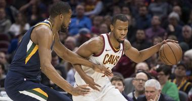 It's halftime at The Q. The #Cavs have a 49-48 lead.   Cleveland is shooting 50 percent from three-point range (6-12).  Rodney Hood leads all scorers with 12 points. Jordan Clarkson has 10.