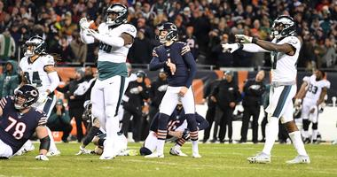 Jan 6, 2019; Chicago, IL, USA; Philadelphia Eagles players celebrate after Chicago Bears kicker Cody Parkey (1) missed a field goal in the fourth quarter of a NFC Wild Card playoff football game at Soldier Field. Mandatory Credit: Mike DiNovo-USA TODAY Sp