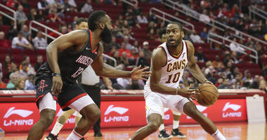 Jan 11, 2019; Houston, TX, USA; Cleveland Cavaliers guard Alec Burks (10) dribbles against Houston Rockets guard James Harden (13) in the first quarter at Toyota Center. Mandatory Credit: Thomas B. Shea-USA TODAY Sports