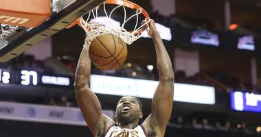 Jan 11, 2019; Houston, TX, USA; Cleveland Cavaliers center Tristan Thompson (13) dunks agains the Houston Rockets in the first half at Toyota Center. Mandatory Credit: Thomas B. Shea-USA TODAY Sports