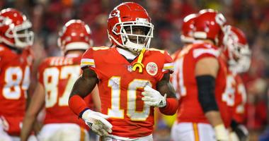 Jan 12, 2019; Kansas City, MO, USA; Kansas City Chiefs wide receiver Tyreek Hill (10) gets into position against the Indianapolis Colts in an AFC Divisional playoff football game at Arrowhead Stadium. Mandatory Credit: Jay Biggerstaff-USA TODAY Sports
