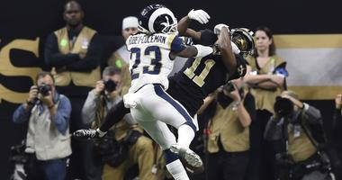 Jan 20, 2019; New Orleans, LA, USA; Los Angeles Rams defensive back Nickell Robey-Coleman (23) breaks up a pass intended for New Orleans Saints wide receiver Tommylee Lewis (11) on a third down play during the fourth quarter in the NFC Championship game a