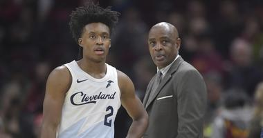 Cleveland Cavaliers guard Collin Sexton (2) stands beside head coach Larry Drew in the third quarter against the Washington Wizards at Quicken Loans Arena.