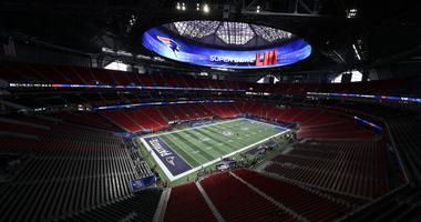 Feb 3, 2019; Atlanta, GA, USA; The calm before Super Bowl LIII at Mercedes-Benz Stadium. Mandatory Credit: Kevin Jairaj-USA TODAY Sports