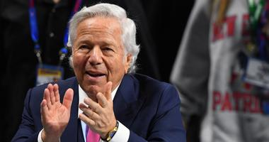Feb 3, 2019; Atlanta, GA, USA; New England Patriots owner Robert Kraft reacts before Super Bowl LIII between the New England Patriots and the Los Angeles Rams at Mercedes-Benz Stadium. Mandatory Credit: John David Mercer-USA TODAY Sports
