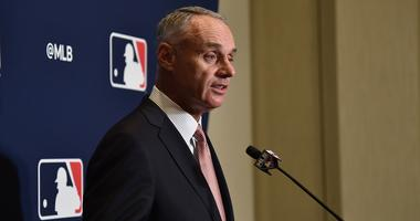 MLB commissioner Rob Manfred addresses representatives from the grapefruit league during the annual spring training media day at Hilton in West Palm Beach.