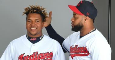 Feb 21, 2019; Goodyear, AZ, USA; Cleveland Indians starting pitcher Danny Salazar (31) checks out second baseman Jose Ramirez (11) earrings during media day at Goodyear Ballpark. Mandatory Credit: Jayne Kamin-Oncea-USA TODAY Sports