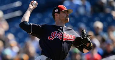 Feb 27, 2019; Phoenix, AZ, USA; Cleveland Indians starting pitcher Shane Bieber (57) pitches against the Milwaukee Brewers during the first inning at Maryvale Baseball Park. Mandatory Credit: Joe Camporeale-USA TODAY Sports
