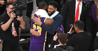Feb 27, 2019; Los Angeles, CA, USA; Los Angeles Lakers forward LeBron James (23) and New Orleans Pelicans forward Anthony Davis (23) embrace after a game at Staples Center. Mandatory Credit: Jayne Kamin-Oncea-USA TODAY Sports