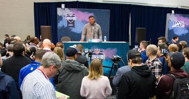 Ohio State quarterback Dwayne Haskins (QB05) speaks to media during the 2019 NFL Combine at the Indiana Convention Center.