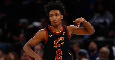 Feb 28, 2019; New York, NY, USA; Cleveland Cavaliers guard Collin Sexton (2) reacts after making a three point shot against the New York Knicks during the first half at Madison Square Garden. Mandatory Credit: Noah K. Murray-USA TODAY Sports