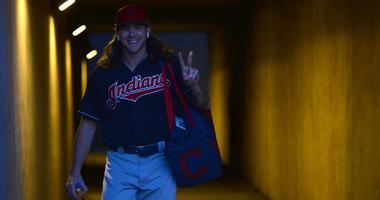 Mar 6, 2019; Phoenix, AZ, USA; Cleveland Indians starting pitcher Mike Clevinger (52) takes the field for warmups prior to facing the Los Angeles Dodgers at Camelback Ranch. Mandatory Credit: Joe Camporeale-USA TODAY Sports