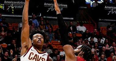 Cleveland Cavaliers guard Collin Sexton (2) shoots over Miami Heat forward Justise Winslow (20) during the second half at American Airlines Arena.