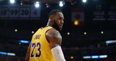 March 9, 2019; Los Angeles, CA, USA; Los Angeles Lakers forward LeBron James (23) during a stoppage in play against the Boston Celtics in the second half at Staples Center. Mandatory Credit: Gary A. Vasquez-USA TODAY Sports