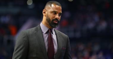 San Antonio Spurs assistant coach Ime Udoka against the Phoenix Suns at Talking Stick Resort Arena.