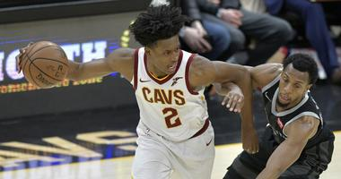 Mar 18, 2019; Cleveland, OH, USA; Cleveland Cavaliers guard Collin Sexton (2) dribbles against Detroit Pistons guard Ish Smith (14) in the fourth quarter at Quicken Loans Arena. Mandatory Credit: David Richard-USA TODAY Sports