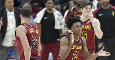Mar 20, 2019; Cleveland, OH, USA; Cleveland Cavaliers guard Collin Sexton (2) celebrates after scoring in the fourth quarter against the Milwaukee Bucks at Quicken Loans Arena. Mandatory Credit: David Richard-USA TODAY Sports