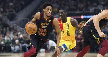 Mar 24, 2019; Milwaukee, WI, USA; Cleveland Cavaliers guard Brandon Knight (20) drives to the basket during the first quarter against the Milwaukee Bucks at Fiserv Forum. Mandatory Credit: Jeff Hanisch-USA TODAY Sports