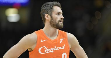 Cleveland Cavaliers forward Kevin Love (0) reacts in the second quarter against the Boston Celtics at Quicken Loans Arena.