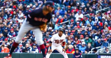 Mar 28, 2019; Minneapolis, MN, USA; Minnesota Twins shortstop Jorge Polanco (11) takes a lead from first base in the bottom of the eighth inning against the Cleveland Indians at Target Field. The Minnesota Twins defeated the Cleveland Indians 2-0. Mandato
