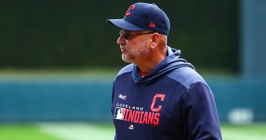 Mar 28, 2019; Minneapolis, MN, USA; Cleveland Indians manager Terry Francona (77) looks on during introductions before the game against the Minnesota Twins at Target Field. The Minnesota Twins defeated the Cleveland Indians 2-0. Mandatory Credit: David Be