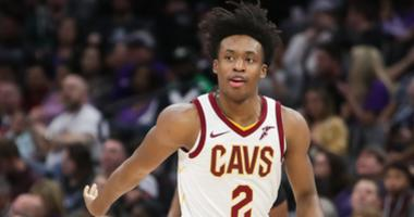 Cleveland Cavaliers guard Collin Sexton (2) celebrates after making a three point basket during the second quarter against the Sacramento Kings at Golden 1 Center.