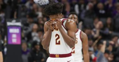 Cleveland Cavaliers guard Collin Sexton (2) and forward Marquese Chriss (3) walk off the court during the third quarter against the Sacramento Kings at Golden 1 Center.