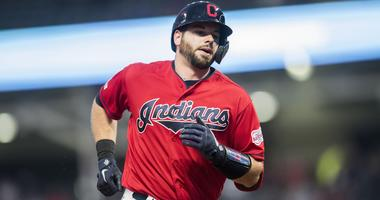 Apr 5, 2019; Cleveland, OH, USA; Cleveland Indians catcher Kevin Plawecki (27) rounds the bases after hitting a home run during the third inning against the Toronto Blue Jays at Progressive Field. Mandatory Credit: Ken Blaze-USA TODAY Sports
