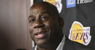 Apr 9, 2019; Los Angeles, CA, USA; Los Angeles Lakers president of basketball operations Magic Johnson speaks to the media before the game against the Portland Trail Blazers at Staples Center. Mandatory Credit: Richard Mackson-USA TODAY Sports