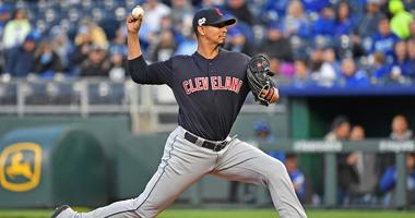Apr 12, 2019; Kansas City, MO, USA; Cleveland Indians starting pitcher Carlos Carrasco (59) delivers a pitch during the first inning against the Kansas City Royals at Kauffman Stadium. Mandatory Credit: Peter G. Aiken/USA TODAY Sports