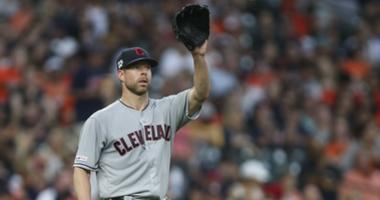 Apr 26, 2019; Houston, TX, USA; Cleveland Indians starting pitcher Corey Kluber (28) reacts after a play during the second inning against the Houston Astros at Minute Maid Park. Mandatory Credit: Troy Taormina-USA TODAY Sports