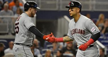 Apr 30, 2019; Miami, FL, USA; Cleveland Indians right fielder Carlos Gonzalez (24) celebrate with catcher Roberto Perez (55) after scoring a run in the second inning against the Miami Marlins at Marlins Park. Mandatory Credit: Jasen Vinlove-USA TODAY Spor