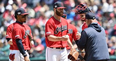 May 5, 2019; Cleveland, OH, USA; Cleveland Indians manager Terry Francona removes starting pitcher Cody Anderson (56) from the game during the first inning against the Seattle Mariners at Progressive Field. Mandatory Credit: Ken Blaze-USA TODAY Sports