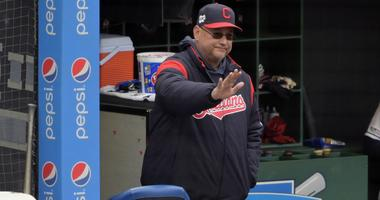 May 7, 2019; Cleveland, OH, USA; Cleveland Indians manager Terry Francona (77) reacts in the third inning against the Chicago White Sox at Progressive Field. Mandatory Credit: David Richard-USA TODAY Sports