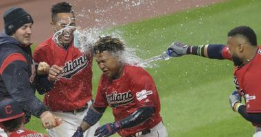 May 8, 2019; Cleveland, OH, USA; Cleveland Indians third baseman Jose Ramirez (11) celebrates after his game winning, two-run home run in the ninth inning against the Chicago White Sox at Progressive Field. Mandatory Credit: David Richard-USA TODAY Sports