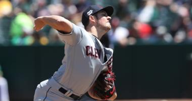 Cleveland Indians starting pitcher Trevor Bauer (47) throws a pitch during the second inning against the Oakland Athletics at Oakland Coliseum.