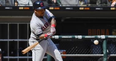May 14, 2019; Chicago, IL, USA; Cleveland Indians second baseman Jose Ramirez (11) hits a home run in the sixth inning against the Chicago White Sox at Guaranteed Rate Field. Mandatory Credit: Matt Marton-USA TODAY Sports