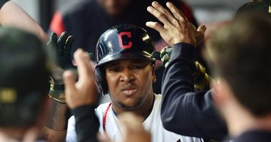 Cleveland Indians third baseman Jose Ramirez (11) celebrates after scoring during the second inning against the Baltimore Orioles at Progressive Field.