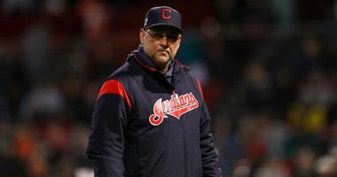 May 29, 2019; Boston, MA, USA; Cleveland Indians Manager Terry Francona (77) reacts during the eighth inning against the Boston Red Sox at Fenway Park. Mandatory Credit: Paul Rutherford-USA TODAY Sports