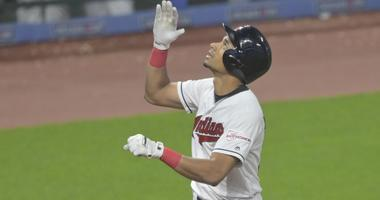 Jun 6, 2019; Cleveland, OH, USA; Cleveland Indians pinch hitter Oscar Mercado (35) celebrates his solo home run in the ninth inning against the Minnesota Twins at Progressive Field. Mandatory Credit: David Richard-USA TODAY Sports