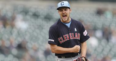 Jun 16, 2019; Detroit, MI, USA; Cleveland Indians starting pitcher Trevor Bauer (47) reacts after pitching a complete game shutout against the Detroit Tigers at Comerica Park. Mandatory Credit: Raj Mehta-USA TODAY Sports